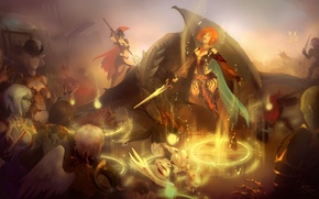 Picture weapons, people, girls, dragon, elf, the game, sword, armor, warrior, red, Fantasy, cloak, lineage, rune