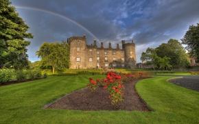 Picture flowers, Park, castle, rainbow, Ireland, Ireland, Kilkenny Castle