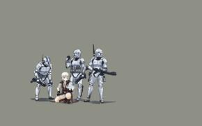 Picture minimalism, star wars, star wars, green background, Jedi, clones