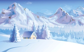 Picture winter, snow, trees, landscape, mountains, nature, house, vector