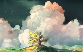 Picture clouds, birds, tree, art, painted landscape