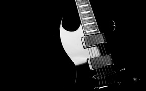 Wallpaper guitar, reflections, black