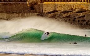 Picture beach, squirt, wave, surfer, surfing, beach, surf, wave, surfer, spray, extreme sports