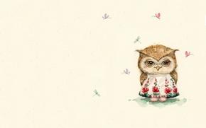 Picture summer, mood, owl, dragonfly, art, children's, sovushka, sarafan, Inga Paltser, Inga, Pelzer