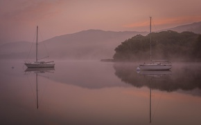 Picture the sky, trees, mountains, fog, lake, boat, yacht