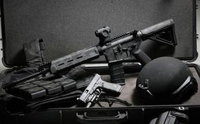 Wallpaper gun, weapons, background, suitcase, helmet, Glock, assault rifle