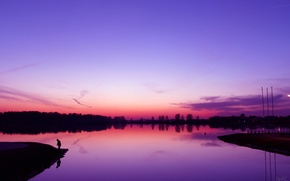 Picture purple, water, sunset, shore, fisherman, the evening, Lake