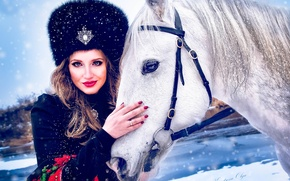 Picture girl, hat, horse, fur