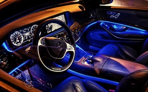 Picture blue, Mercedes-Benz, neon, salon, AMG, s-class, W222, S63