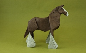Picture green, green, horse, origami, power, horse, power, origami, brown horse, brown horse