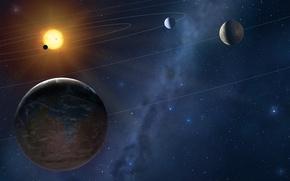 Picture star, sun, planets, orbits
