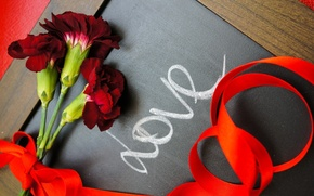 Picture love, flowers, holiday, tape, Board, the word, clove, LOVE