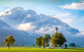 Wallpaper Church Of The Holy Kalman, Saint Coloman, Schwangau, castle, Neuschwanstein Castle, Neuschwanstein Castle, trees, Germany, ...