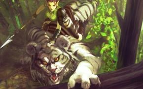 Picture forest, girl, tiger, predator, fantasy, art, elf