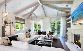 Picture design, furniture, Villa, interior, TV, window, lamp, fireplace, curtains, table, living