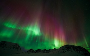 Picture stars, mountains, night, Northern lights, Lapland