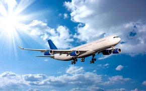 Picture the sky, the sun, clouds, rays, flight, the plane, passenger, airliner