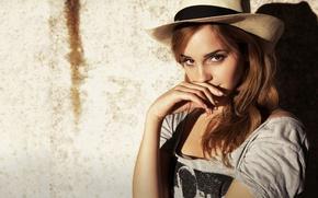 Picture look, wall, hat, Emma Watson, Emma Watson