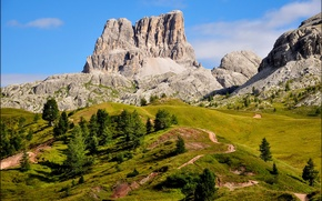 Picture the sky, grass, trees, mountains, nature, Italy, The Dolomites, mountain Averau, Cortina d'ampezzo