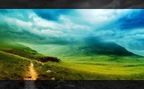 Wallpaper greens, grass, clouds, landscape, mountains, nature, style, widescreen, landscape