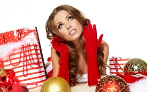 Picture girl, decoration, balls, toys, New Year, Christmas, gifts, gloves, brown hair, Christmas, looks, New Year, ...