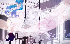 Picture girl, hands, carousel, Hatsune Miku, Vocaloid, lashed