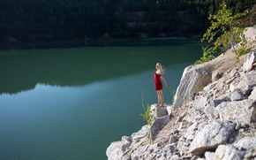 Wallpaper forest, girl, happiness, lake, stones, sweetheart, model, blonde, red, rock, dress, nature, water, nice, long-haired, ...