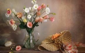 Picture flowers, hat, box, vase, shawl, eustoma