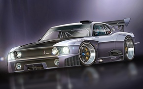 Picture Mustang, Ford, Mustang, art, GT-R, Ford, race car, 1000 HP