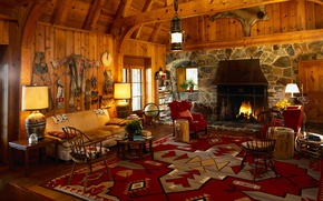 Picture interior, fireplace, wigwam
