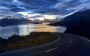 Picture clouds, The sky, mountains, nature, lake, lake, New Zealand, clouds, road, sky, nature, landscape, landscape