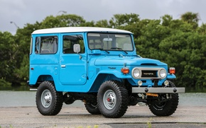 Picture car, Toyota, blue, old, japanese, Land Cruiser