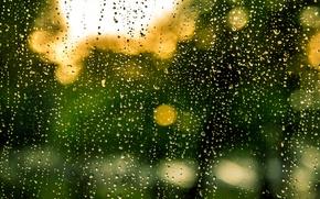 Picture glass, rain, water, drops