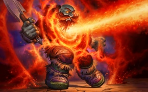 Wallpaper Hearthstone, dwarf, axe, art, magic, fire, WoW, World of Warcraft, Lava shock, Lava Shock, Blackrock ...