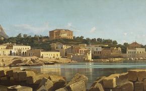 Picture sea, the city, stones, heat, shore, mountain, hill, the ruins, Bay, Sunny, italia, Italy, italy, …