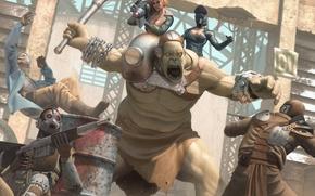 Picture girl, fiction, mask, gas mask, giant, battle, fallout, arena, Bazooka, mutant, fan art, super mutant, ...