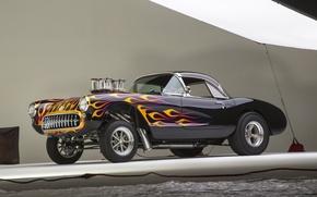 Picture Corvette, Classic, Gasser, Flames, Bowtie
