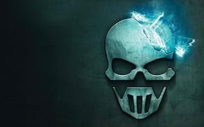 Wallpaper plasma, background, the explosion, steel, skull