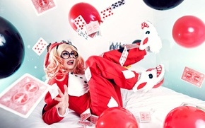 Picture Girl, Fantasy, Beauty, Cute, Harley Quinn, Funny, Cosplay, Ballons, Playing Card
