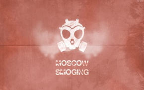 Wallpaper red, Moscow, smoging, respirator