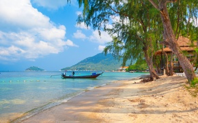 Picture sand, sea, the sky, clouds, trees, landscape, nature, boats, Thailand, beautiful, tropical, sky, trees, sea, …