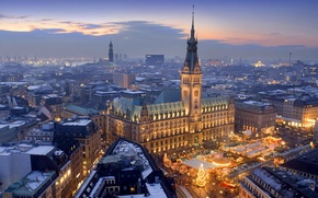 Picture holiday, Germany, Christmas, panorama, Hamburg, market, town hall