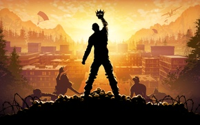 Picture Sunset, The sky, Clouds, The city, Skull, Trees, Light, Apocalypse, Building, Zombies, The plane, Crown, …