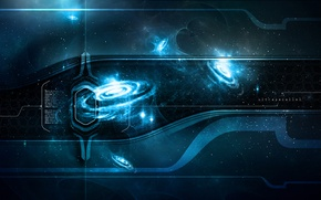 Picture space, blue, quasar, time, ultraparallel