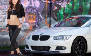 Picture girl, graffiti, Girls, BMW, white car