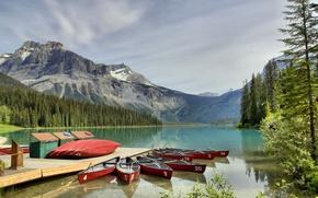 Picture forest, mountains, lake, Marina, boats, Yoho National Park, canoe, Emerald Lake