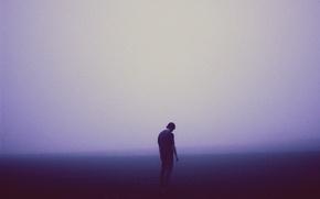Wallpaper sad, melancholy, misty, man, foggy