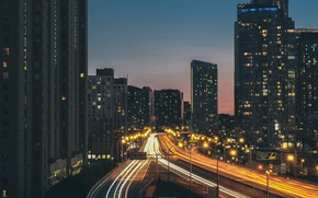 Wallpaper street, the evening, road, building, the city, excerpt