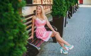 Picture model, dress, shoes, sitting, alley, bench, posing, figure, nyasha, good, Wallpaper blonde, Yulia Nazarova, plants ...