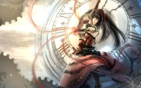 Picture girl, weapons, watch, art, dial, revolvers, kikivi, date a live, tokisaki kurumi